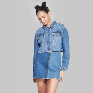 Women's Medium Wash Oversized Cropped Denim Jacket